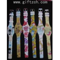 Water transfer print Children kids junior silicone LED digital wristband watch