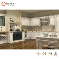 China French Taste Oak Wood Modern Kitchen Cabinet Beige Stained wholesale