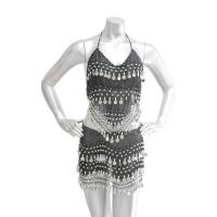 Belly Dancing Coin Top and Hip Scarf Set - Black /Silver