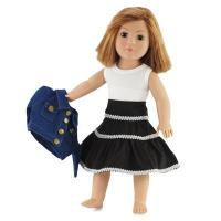 China 18-inch Doll Clothes - Denim Jacket, White Shirt, and Brown Skirt - fits American Girl  Dolls on sale