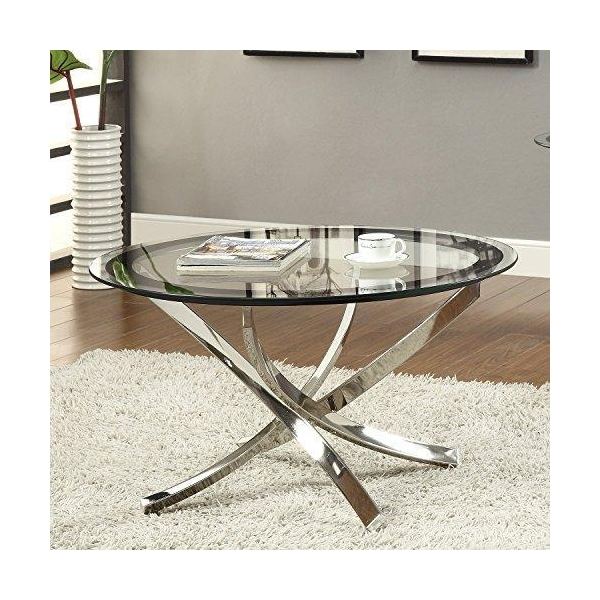Coffee Table Silver Legs: Coaster Rectangular Dining Table With Glass Top Metal Legs