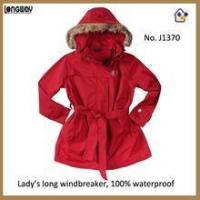 China Womens Fur Collar Long Red Coats Red Long Parka Coats with Faux Fur for Women wholesale