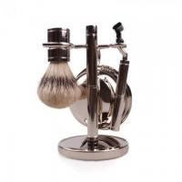 China Hot sale synthetic hair shaving brush set with metal handle wholesale