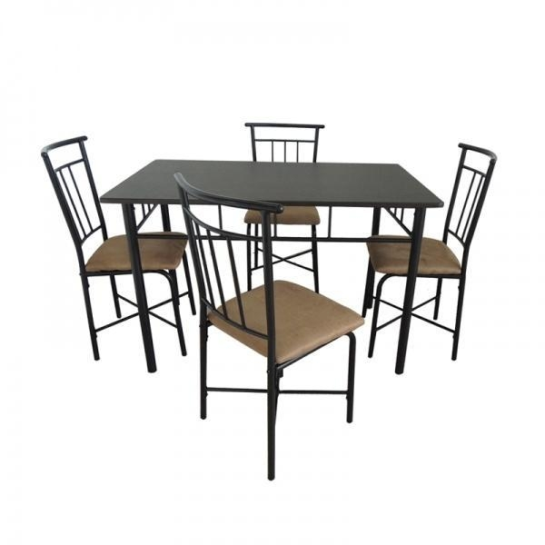 3 pieces metal kitchen table set with 2 chairs images view