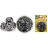 China stainless steel scourer/sponge/cleaning ball for kitchen with plastic handle Scourer wholesale
