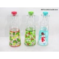 "China Inverted ""V""font glass milk bottle with metal handles and decal on surface wholesale"