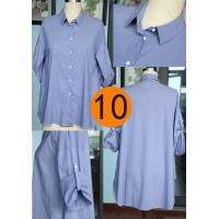 Ladies' long pattern blouse latest design blouse for lady casual blouse adjustable sleeve shirt