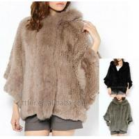 TT501, Genuine rabbit fur knitted hoodie jacket with fox fur trimming