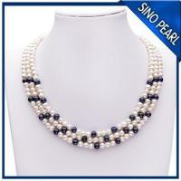 China A 5-6MM / 6-7MM 18Inch Three Strands Natural Fresh Water Pearl Necklace PN004 wholesale