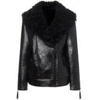 China women black long leather biker jacket wholesale