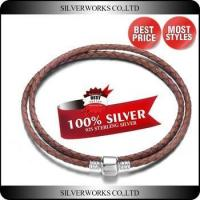 China Colored Double Wrap Leather Bracelet,925 Sterling Silver Braided Rope Bracelet wholesale