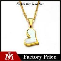 China Factory cheap high polishing 18k gold charm stainless steel shell heart necklace jewelry for girl wholesale