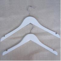 China White Wood Hanger for Jacket and shirt on sale