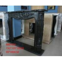 China Column fireplace black marble CNC gas fireplace in stock wholesale