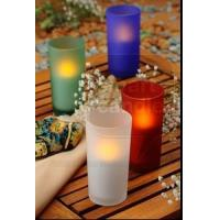 China ITEM:12361 Glass votive with battery operated candle on sale