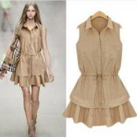 2013 women's dress stand collar sleeveless turn-down collar slim