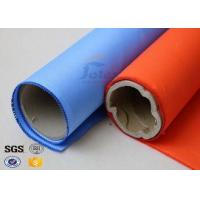 China Blue Rubber Silicone Coated Fiberglass Fabric Thermal Insulation Cover 18oz on sale