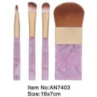 China 4pcs small print rose plastic handle animal/nylon hair cosmetic brush set AN7403 wholesale