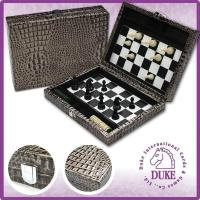 China 2015 NEW ITEM - Faux crocodile leather 2 in 1 Chess & checker magnetic game set (CS168-09/12/15) on sale