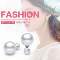 China Lady Women Charm 925 Sterling Silver Two Pearls Earring wholesale