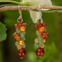 China Thailand Yellow Pearl Carnelian Quartz Cluster Earrings,