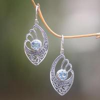 China Handmade Blue Topaz and Sterling Silver Dangle Earrings, 'Blue Wings' wholesale