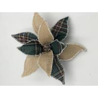 China linen flower with clip green plaid(size:20cm) on sale