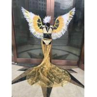 China kid's stage shows wings bikinis feather costumes catwalk pink red gold colorful green wholesale