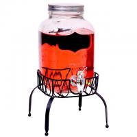 China High quality crystal glass fruit juice beverage dispenser with black rack and chalkboard on sale