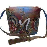 China Women Hand Painted Cross Body Sling Bag Stylish Abstract Designer Leather Shoulder Vanity Purse wholesale