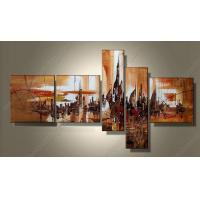 China MODERN ABSTRACT HUGE WALL DECORATE ART OIL PAINTING YELLOW 5pcs AB141 wholesale