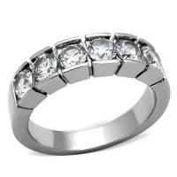 China Clear Round CZ Eternity Wedding Band Ring , Stainless Steel , MITK108207200 wholesale