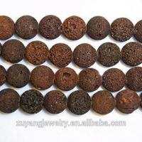 Round Natural Brown Lava Beads 15 Inches Length For Jewelry Making Necklace Healing (AB1565)