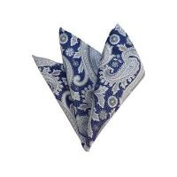 China HD-41   Silver, White And Blue Paisley Woven Handkerchief wholesale