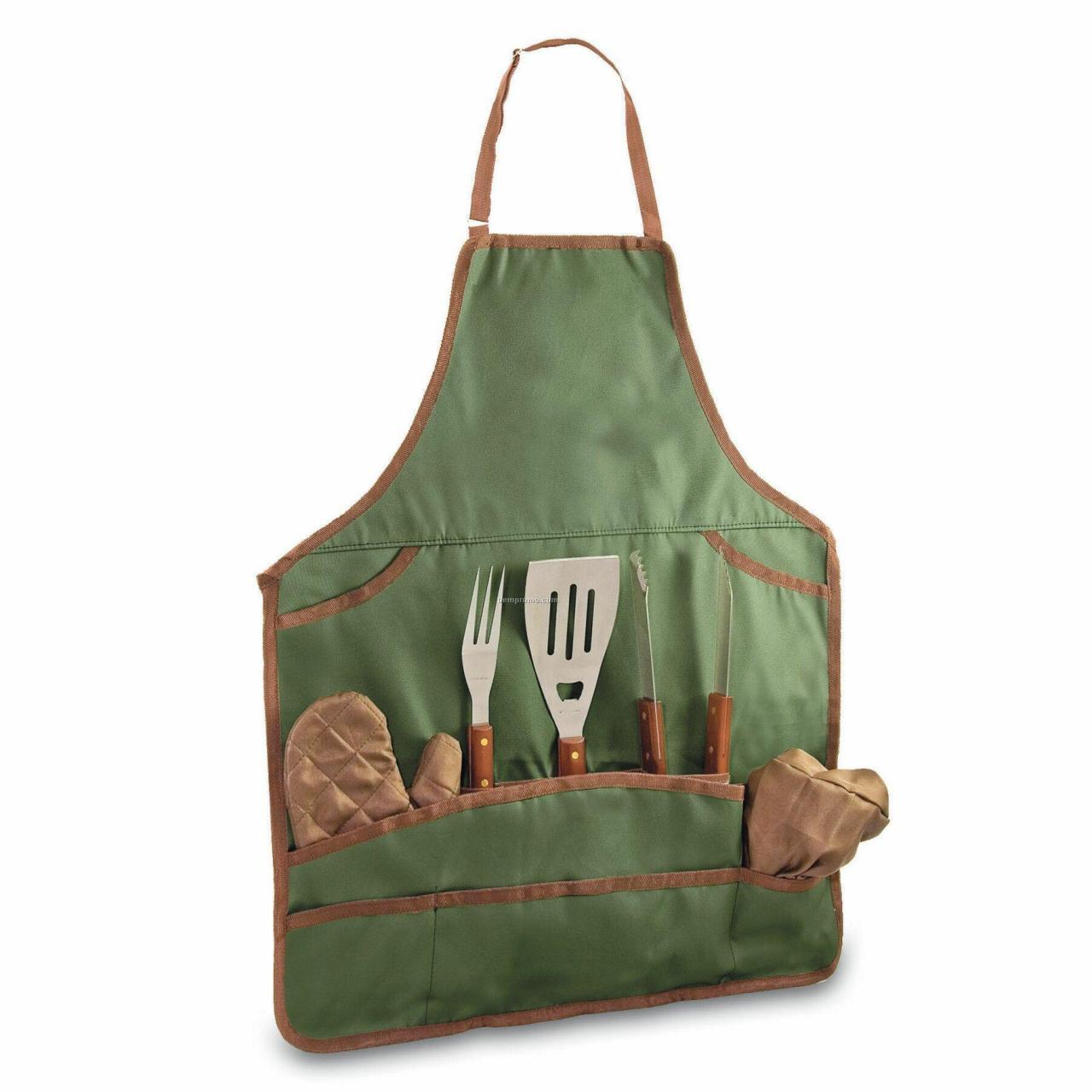 China Bbq Apron Tote & Chef Hat W/ 3 Piece Stainless Steel Tool Set wholesale