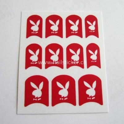 Quality Custom playboy logo nail art stencil hollow out nail sticker supplier for sale