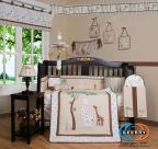 China Boutique Giraffe Loving Family 13PCS CRIB BEDDING SET